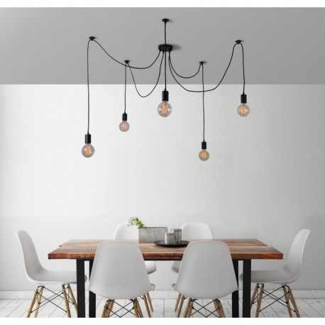 FilamentStyle Spider Lamp 5 Globes Suspension