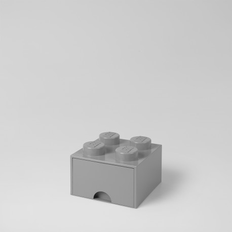 Brique Lego rangement empilable à tiroir 4 plots - réf.4005 - gris - vue de face