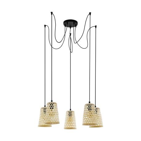 Luminaire en suspension Eglo Claverdon 5x Ø 18cm - réf. 43255 - fond blanc
